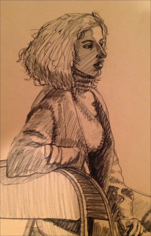 Charcoal drawing of seated woman