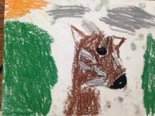 student work of soft pastel rendering of endangered animal