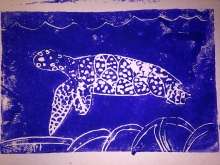 Mono print of sea turtle from foam carving