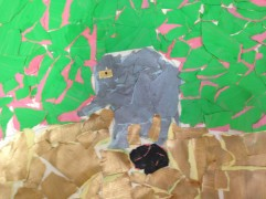 Painted paper collage of elephant