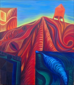 Oil Painting of abstract city scape