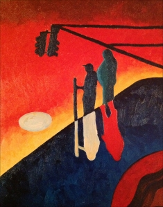 Oil painting of figures in abstract landscape