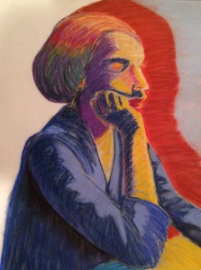 Soft pastel of seated female model